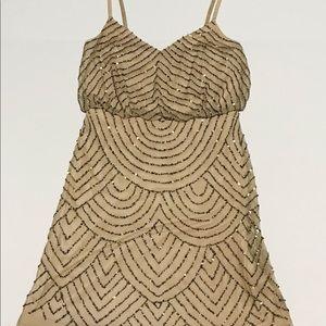 Adrianna Papell pink gold sequins dress Sz 6